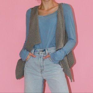 THEORY Crochet Cropped Sleeveless Open Vest